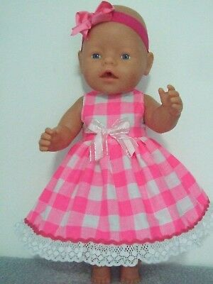 42cm BABY BORN Dolls Clothes / Fluro Pink & White Check DRESS & HEADBAND
