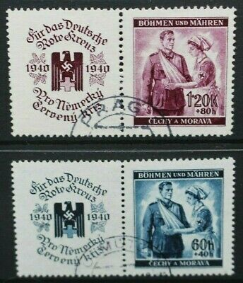GERMANY OCCUPATION ISSUES BOHEMIA 1940 Red Cross Fund. Set of 2. USED. SG58/59.