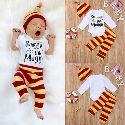 Snuggle This Muggle Newborn Baby Boys Romper Baby Pants Hat 3PCS Outfits ZP