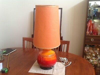 Large Vintage Mid-Century Retro German Lava Ceramic Table Lamp Base and Shade