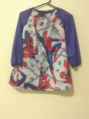 Handmade Kids Spiderman Triple Weave Art Smock Boys 4-7 Grey