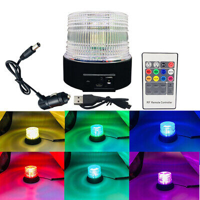 LED Strobe Beacon Emergency Flashing Warning Amber Magnetic 7 Colors RGB J4X4