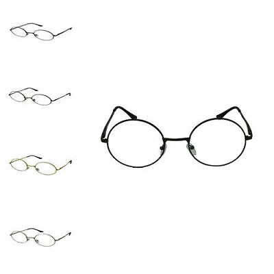 Unisex Oval Round Vintage Geek Nerd Clear Lens Glasses Metal Frame Retro Style