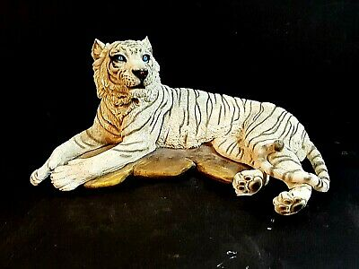 Hand Painted White Siberian Tiger Figurine