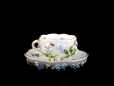Antique Meissen Floral Encrusted Demitasse Cup & Saucer Crossed Swords Germany