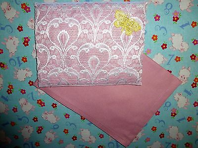 New pink white lace toy pram cot bed sheet and pillow set baby doll teddy bear.