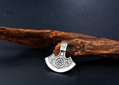 Pendant Necklace Axe Amulet Nose Viking Rune Symbol Stainless Steel Jewelries