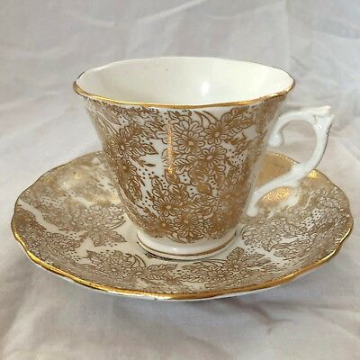 RARE Colclough China Longton England Tea Cup Saucer Fine Bone China Gold Floral
