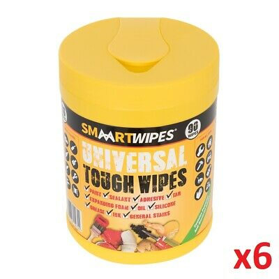 6 x Universal Tough Wipes 90pk Tub Cleaning Wipe Grease Oil Tar Adhesives