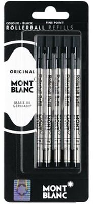 5 Montblanc  Black Fine Point Rollerball Pen Refills New In Pack
