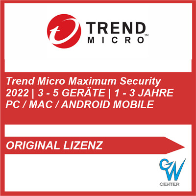 Trend Micro Maximum Security 2019 PC MAC MOBILE [ 1,3,5 GERÄTE | 1, 2 JAHRE ]