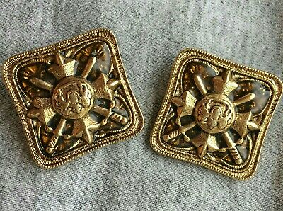 Square Earrings Coat Of Arms Shield goldtone clip on sword medieval vintage bold