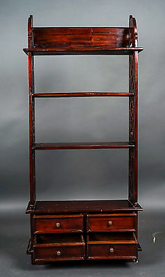 """Old Rosewood Stained Asian Display / Curio 4 Shelf, 4 Drawers - 44""""Hx 20""""Wx 7""""D"""