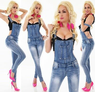 Ladies Overalls Jeans Trousers Dungarees Strap Skinny Suspenders Stretch Blue
