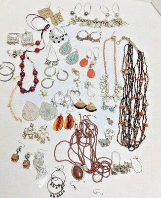 Junk Drawer Lot Jewelry Craft Sold As is For Repair Parts Replacement