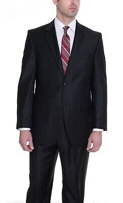 Alfani RED Slim Fit Solid Black Two Button Wool Blend Flat Front Suit 40L 34x30