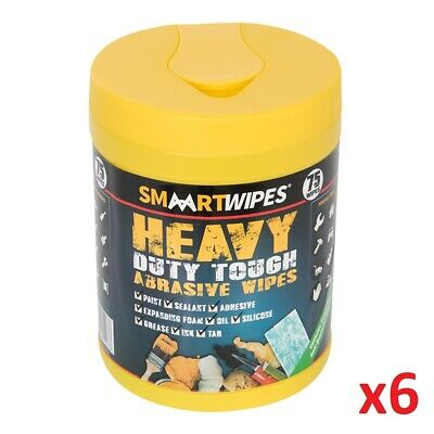 6 x 75pc Heavy Duty Tough Abrasive Wipes 75pk Removes Dirt Paint Tar Adhesive