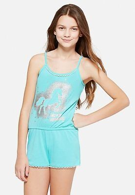 8c0adc93c4 NWT JUSTICE Girls Forever Dreaming Unicorn Romper Pajamas 10 12 14 16 18 20