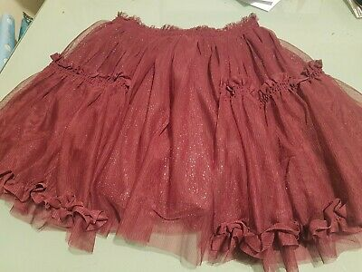 """Next"" Girls Raspberry Pink Glitter Frilly Skirt Size 9 Years"