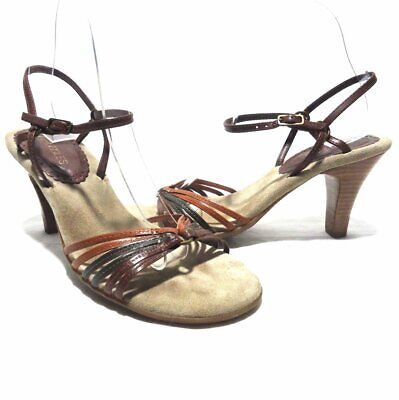 78d510130638 Aerosoles Brown Leather Strappy Adjustable Ankle High Heel Sandals Size 6.5M