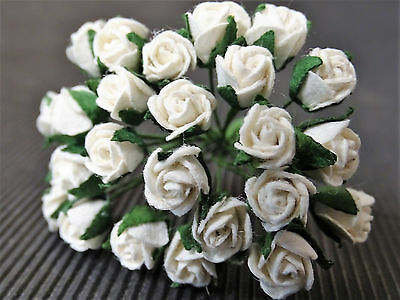 50 x 7mm WHITE Paper ROSES Miniature Flower Wedding Cake Hair Doll Accessory