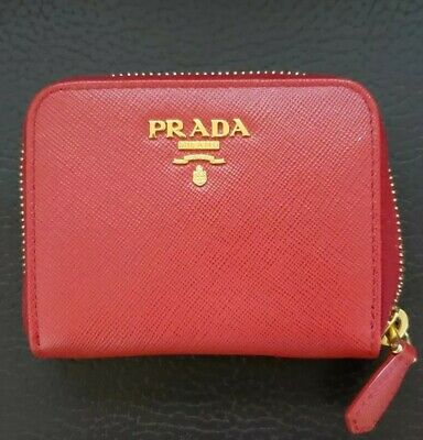 8671a7c5b694 Top Women PRADA Saffiano Leather Zip Around Wallet Coin Purse Fuoco Red Gold