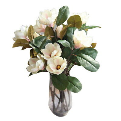 3 Heads Artificial Fake Flowers Leaf Magnolia Floral Wedding Home