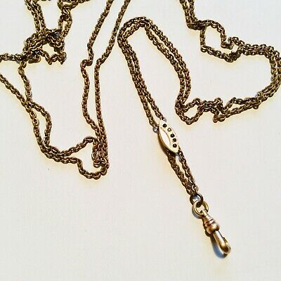 "Chatelaine Pocket Watch Chain Sapphire and Seed Pearl Slider Necklace 50"" vtg"