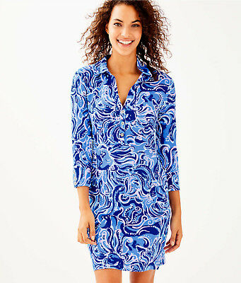 6515653ae7598f NWT $138 Lilly Pulitzer UPF 50+ Ansley Polo Dress Coastal Blue Whispurr Sz  Large