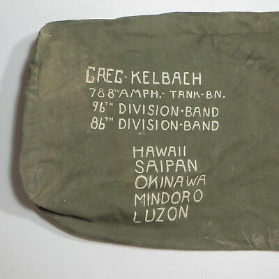 8458c73d69dd Vtg WWII Army Duffel Bag Named Units 788th Amph Tank Pacific Theater