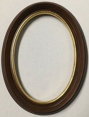 Vintage Decorative 7x5 Oval Antique ReplicaWood Picture Frame Gold Leaf USA X80