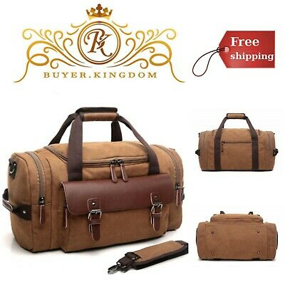 Canvas Gym Leather Overnight Bag Travel Carry On Duffel Sports Weekend Tote  Bags 89b2ce1cfd4c7