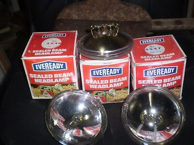3 x VINTAGE NOS 1900s EVEREADY 'BIG JIM' TORCH SEALED BEAM HEADLIGHT GLOBE 4546