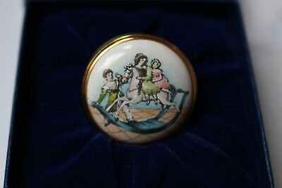 Halcyon Days Bilston small enamel box NSPCC children, ExC Boxed Made in England