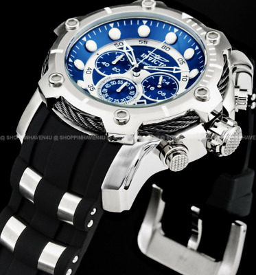 Invicta Men's 51mm BOLT Chronograph Blue Dial Silver Stainless Steel PU Watch