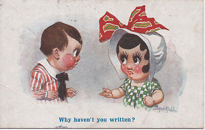 "Vintage Donald McGill postcard [#2778] ""Why haven't you written? theme..."""