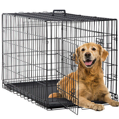 """Dog Crate Extra Large Double Door Folding Dog Cage Pet Crate w/Divider&Tray,42"""""""