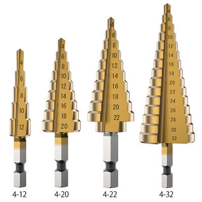 3pcs HSS Step Cone Drill Tin-Coated Hole Cutter Bits Set 4-12/20/32mm + Pouch UK