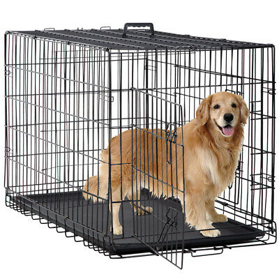 """New Dog Crate Cage Extra Folding Large Double Door Pet Crate w/Divider&Tray,48"""""""