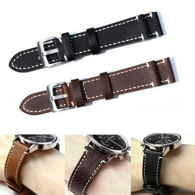 Universal Genuine Leather Wrist Watch Band Strap Replacement Belt 18-23mm NEW