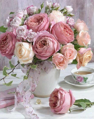 AU Pink Paper Rose Full Drill DIY 5D Diamond Painting Embroidery Cross Stitch HP