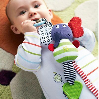 Cute Music Elephant Bell Rattles Safety Seat Baby Soft Plush Stroller Dolls Toys