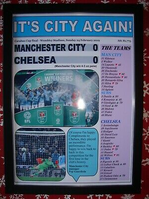 Manchester City 0 Chelsea 0 - 2019 Carabao Cup - framed print