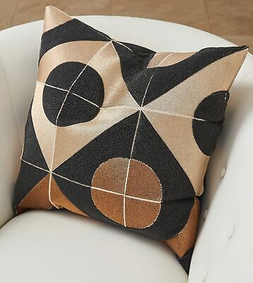 Mid Century Modern Geometric Shapes Pillow | Metallic Bronze Black Circle Beaded
