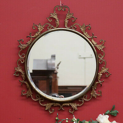 A Round Decorative Brass Framed Bevelled Edge Mirror Imported From France