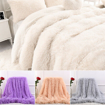 UK Home Solid Long Pile Throw Blanket Soft Faux Fur Warm Shaggy Cover 130*160CM