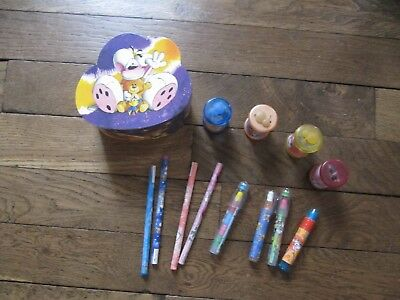 Diddl - Lot 13 objets papeterie : 4 crayons + 4 gommes 4 taille crayons 1 boite