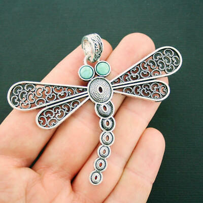 Dragonfly Pendant Charms Antique Silver Tone Faux Turquoise Stones  - SC3765