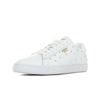 Femme Studs Puma Baskets Blanche Taille Chaussures Wn's Basket Blanc POE7nwx