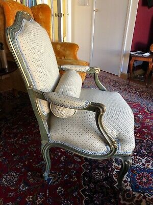 Louis XV style Green Serpentine Antique Chair Green Gold Ivory